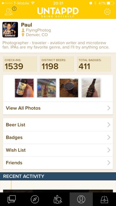 My Untappd profile.
