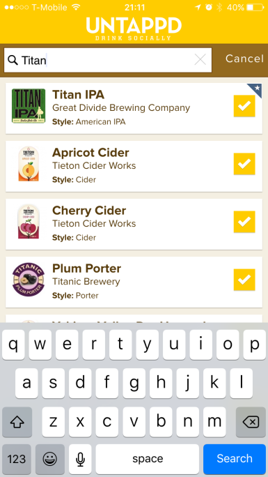 Untappd's search function allows you to begin typing a beer name, then pre-populates the best match.