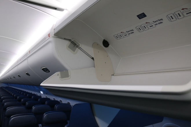 New overhead bins in Delta's A319 are HUGE! (Image via Delta)